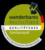 Certificat «Qualitätsweg familienspaß» de l�association allemande des randonneurs (Deutscher Wanderverband)